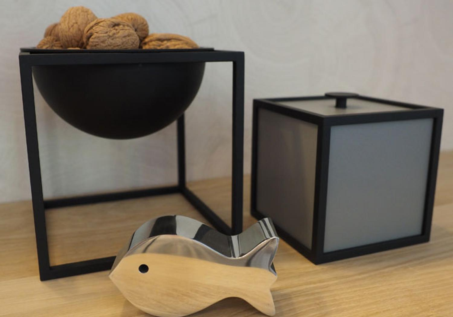 By Lassen / Georg Jensen - Kubus Bowl and Frame boxes by Mogens Lassen / Fish by Alfredo Häberli (part of set)
